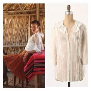 Anthropologie Meadow Rue Off White Sheer Blouse